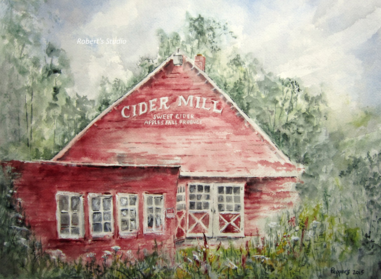 Watercolor Landscape Painting archival print Cider Mill | Etsy