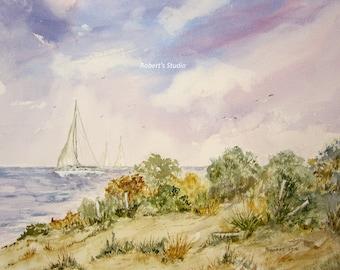 Sailing, watercolor print, art print, seascape painting, sailboat art, summer watercolor, nautical painting, landscape, beach shore