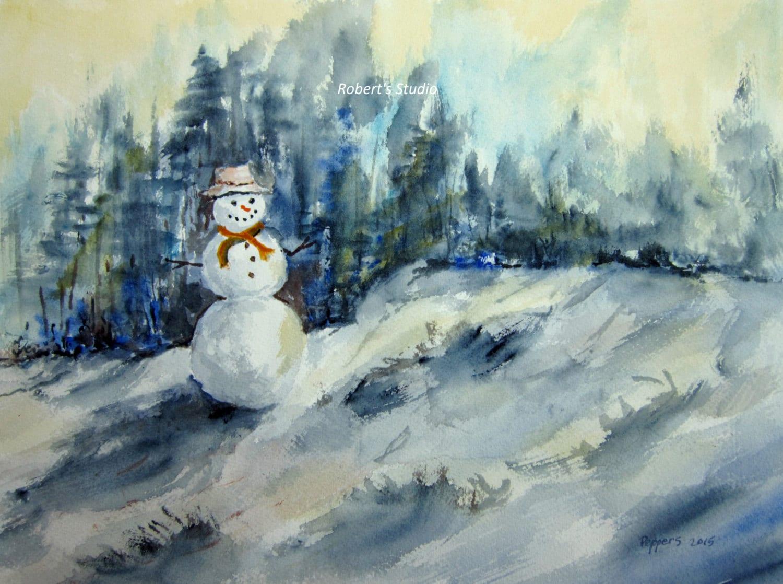 Snowman Archival Print watercolor landscape watercolor art | Etsy
