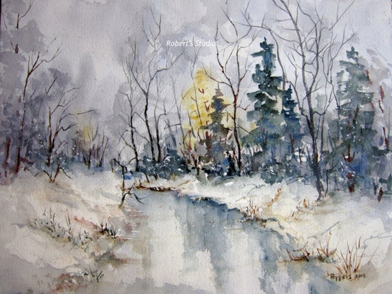 WOODLAND /& POND ENGLISH COUNTRYSIDE WATERCOLOR PAINTING ART REAL CANVAS PRINT