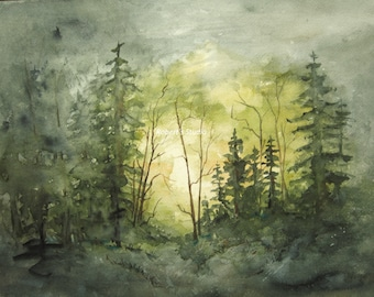 Watercolor Landscape Painting Archival Print, forest painting, watercolor forest, watercolor art, woodland painting, landscape art tree art.