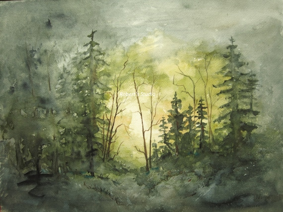 watercolor landscape painting archival print forest painting etsy