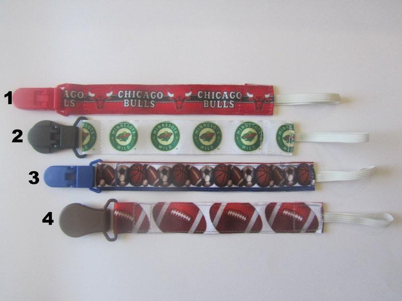 Nuk clipspacifier clipsbinki clipsoothieinfant pacifier clips MN Wild Bulls Sports Football