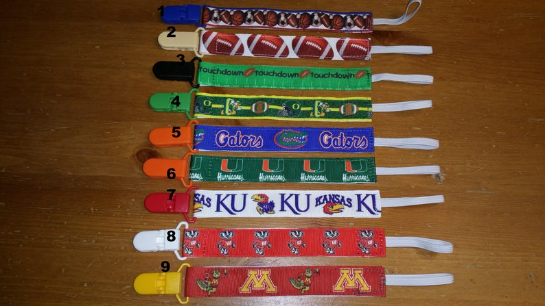 Nuk Clips Pacifier Clip Binky Soothie  MAM Style Pacifier Holder College Football Gophers Badgers Oregon Ducks KU Florida Gators Sports