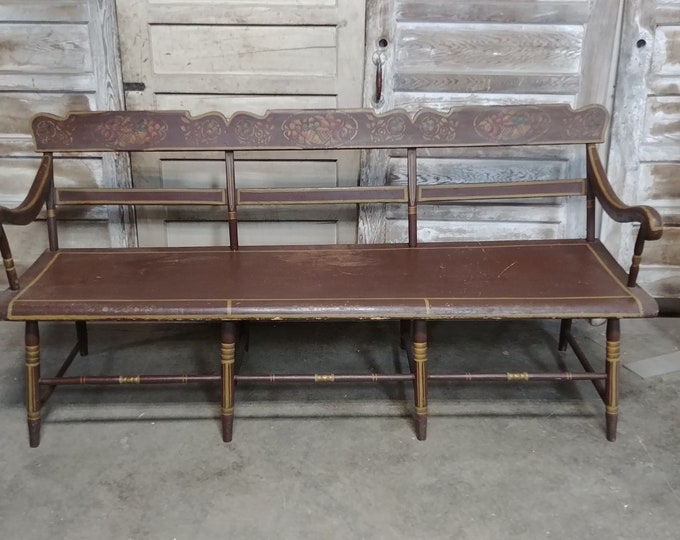 1840'S Pennsylvania Paint Decorated Bench - 185320