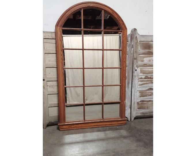Stunning 1940's Arched Oak Framed Mirror From A Bank - 185004-185006