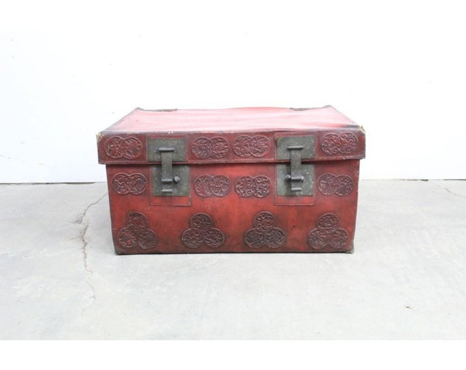 Antique Chinese Red Lacquered & Metal Trunk # 185668