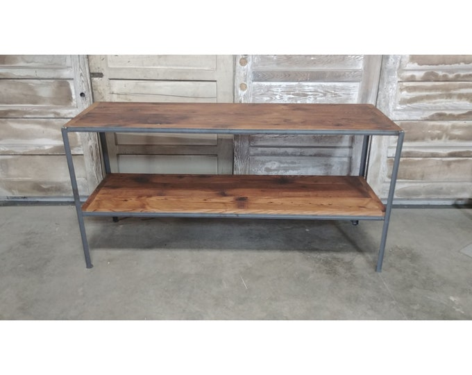 Simple Iron And Wood Two Tier Console # 185977