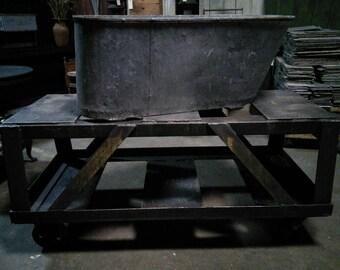 Outstanding 1940's Rolling Steel Industrial Cart # 180043