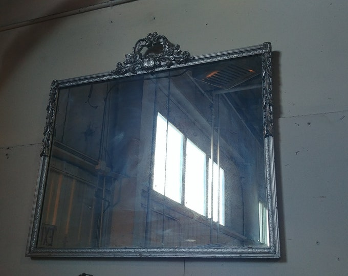 1940'S Carved Silver Framed Mirror # 182568