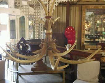 Vintage antler chandelier etsy antler chandelier aloadofball Gallery