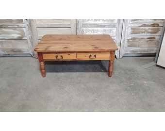 Vintage Two Drawer Pine Coffee Table # 185837