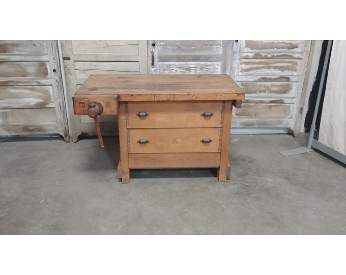 1900'S Two Drawer Work Table With Vice # 185651