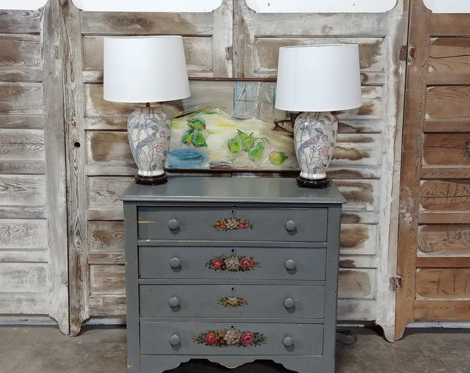 Pair Of Bird + Flower Table Lamps # 182578