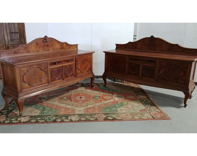 Pair Of Burled Wood Sideboards # 181080