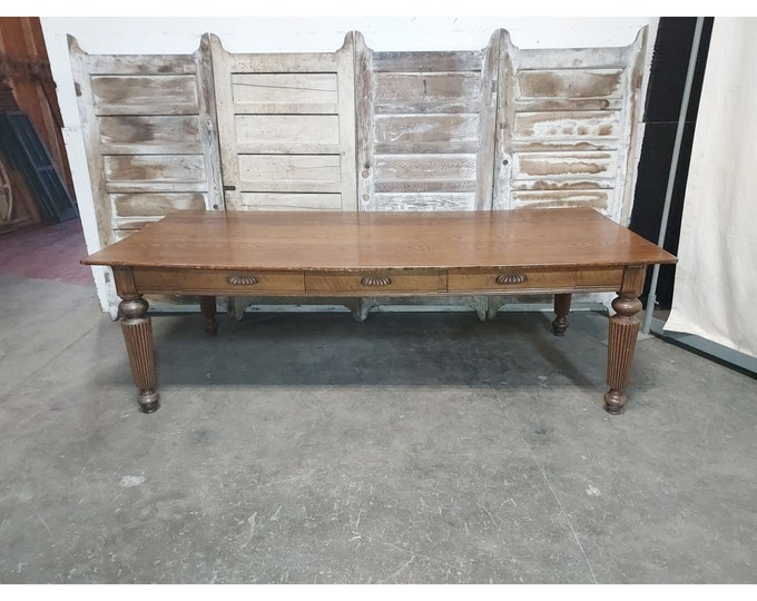 1860,s Three Drawer Library Table With Turned Leg # 186225