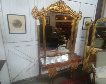 Ornate Mirror With Console # 17319