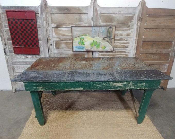 Primitive Pressed Tin Table # 182387