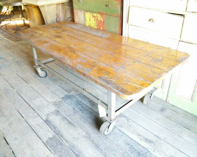 Industrial Cart With A Great Old Wood Top # 17474