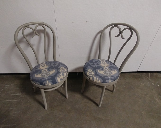 Set Of Four Gray Painted Bentwood Chairs # 180275