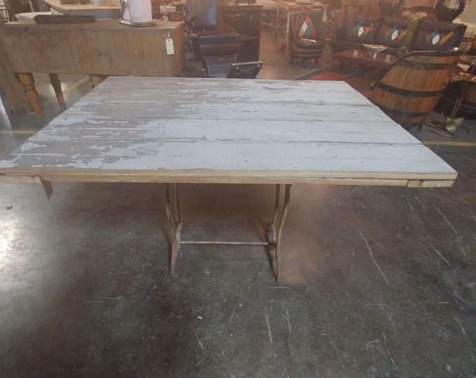 Reclaimed Wood And Sewing Base Table # 180536
