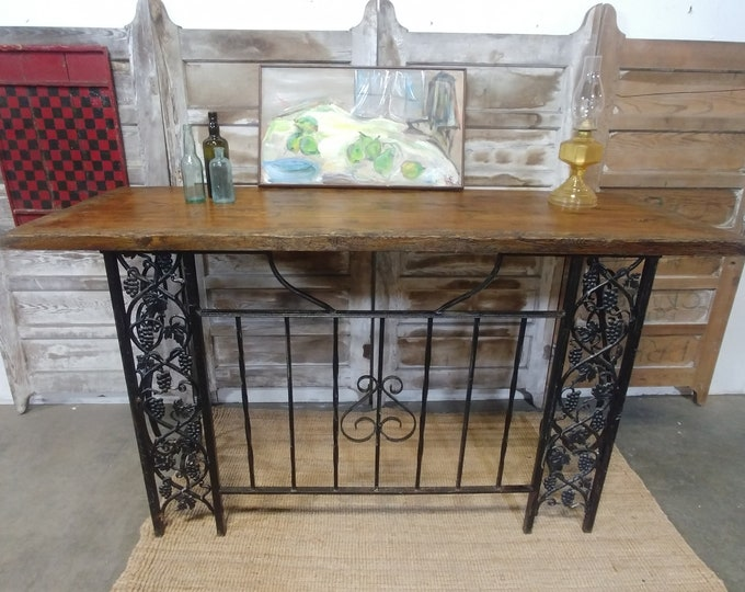 Vintage Iron And Wood Console # 182489