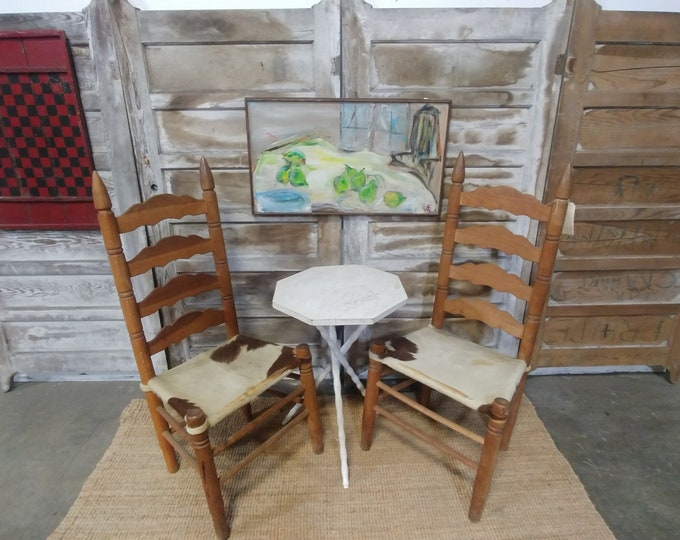 Pair Of Cow Hide Chairs # 180051