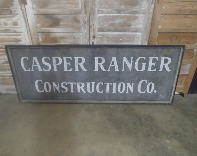 Vintage Casper Construction Tin Sign # 183896