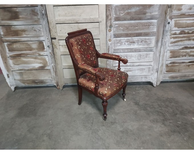 1860,s Upholstered Walnut Arm Chair # 186232
