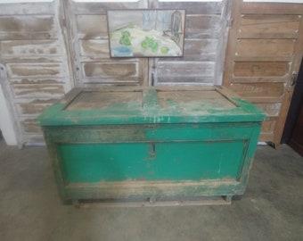 1840'S Old Green Painted Grain Bin # 183809