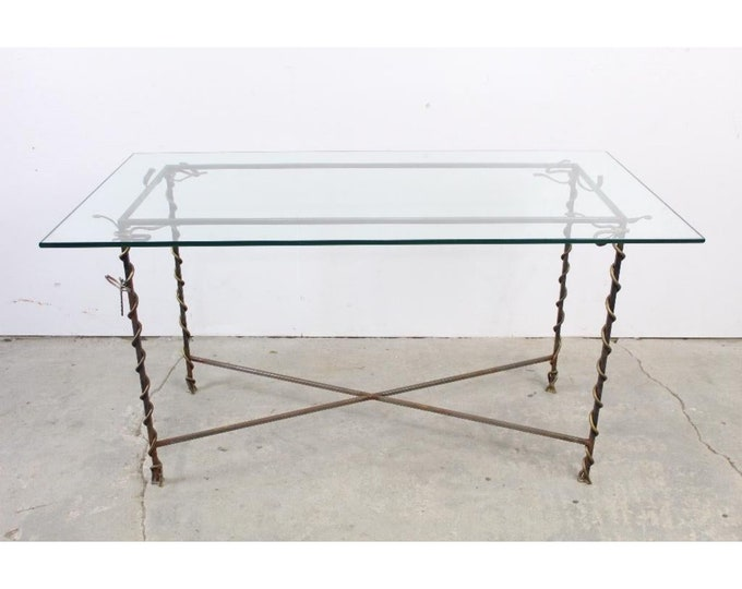 Giacometti Style Iron And Glass Dining Table - 185343