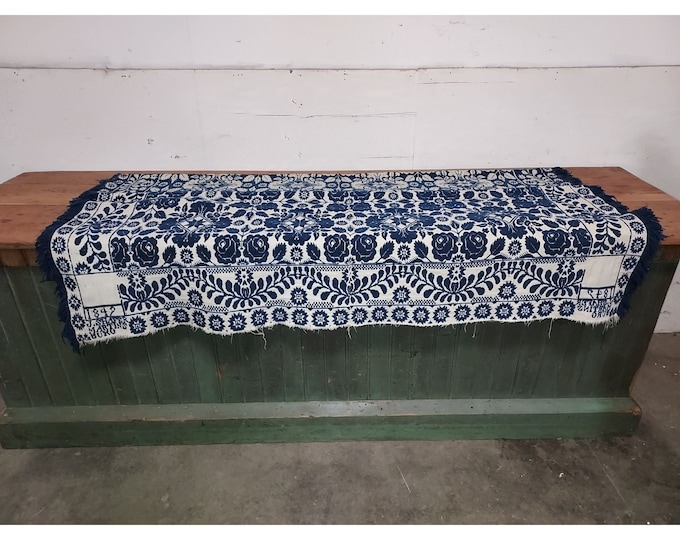 1842 Blue and White Coverlet - 186293