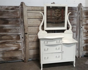 1890's Oak Step Down Painted Chest Of Drawers # 185433