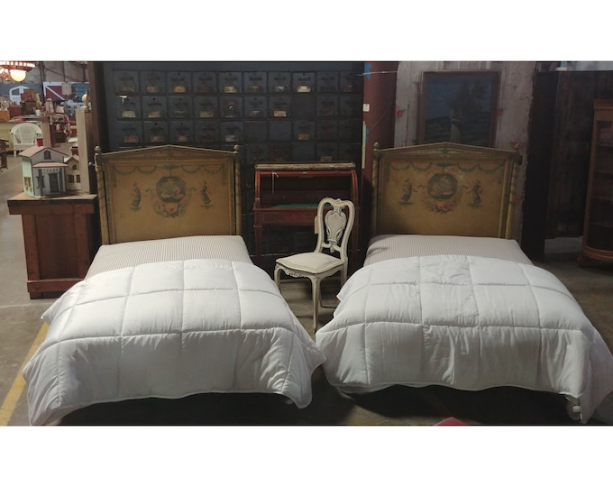 Pair of 1900's Beds With New Custom Mattresses and Stunning Upholstery - 185612