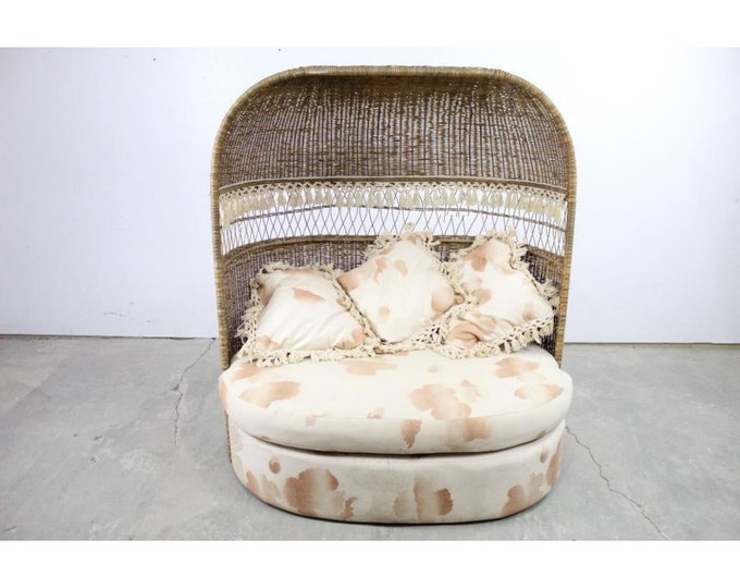 Wicker And Rattan Upholestered Hooded Loveseat Chair - 185342
