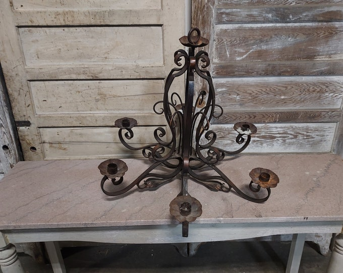 1880,s Cast Iron Candle Chandelier # 186561