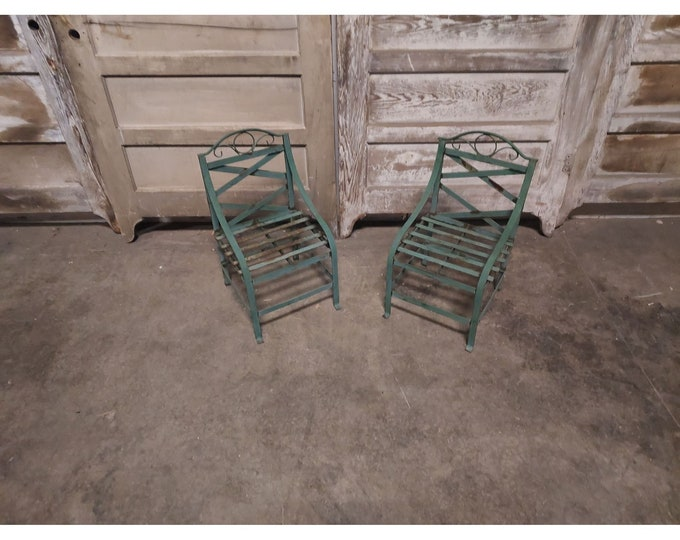 Unique Pair Of Iron 1940's Childs Chairs # 186710