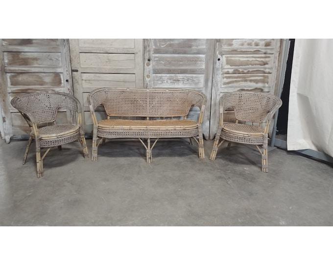 Unique 1940's Three Piece Rattan Set # 185978