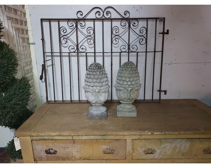 Pair Of Vintage Concrete Pineapple Statuary # 186369