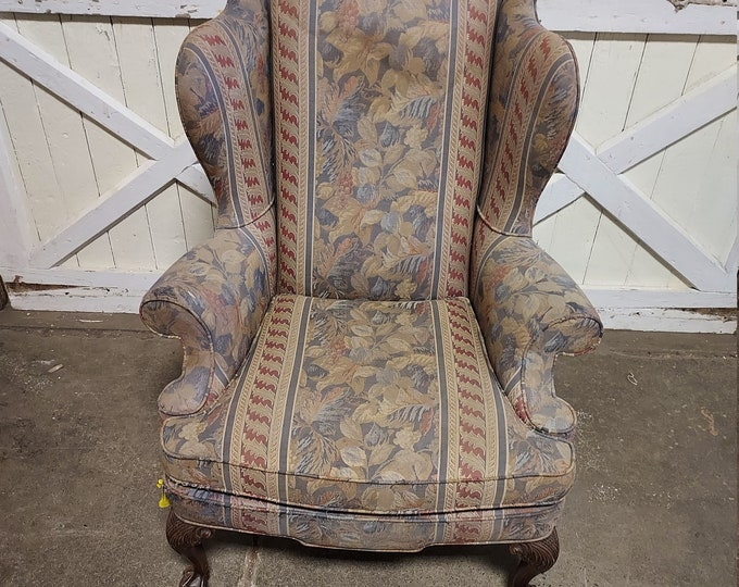 1900's Ball and Claw Foot Wingback Chair