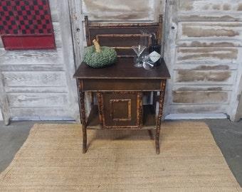BAMBOO + RATTAN TABLE # 182046