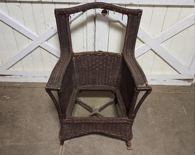 1890's Unusual Wicker Arm Chair