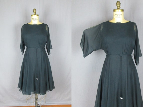 Navy & Black Sheer Sleeve Cocktail Dress 60's small party evening womens party
