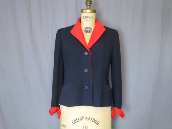 Navy Jacket w/ Red Lining / 50s / medium / coat bu