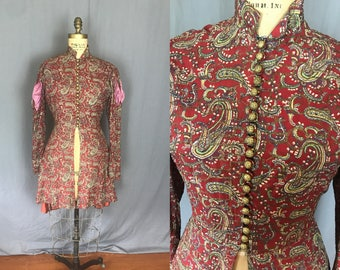 Arabian Nights Red Paisley Print Jacket w/ Gold Lame Embroidery / 30's / small-medium / 30s shirt blouse embroidered pattern