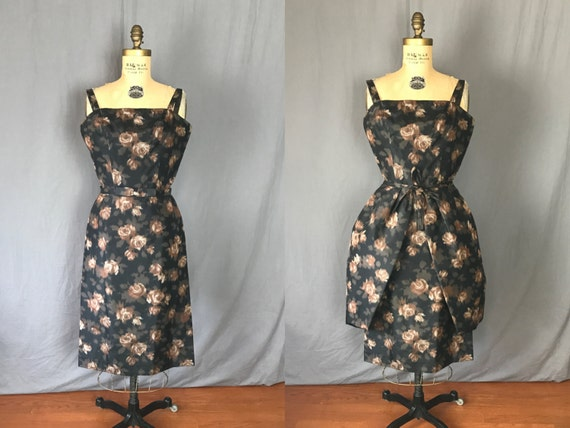 Brown Flowered Wiggle Dress w/ Overskirt & Belt /
