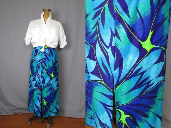 Jungle Print Maxi Skirt / 80's / large / floral br