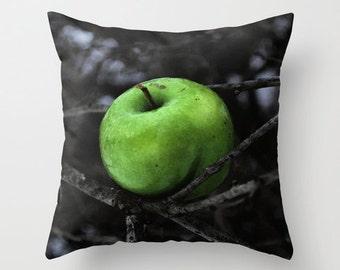 Pillow Cover, Green Apple Pillow, Apple Photo Pillow, Black Green Throw Pillow, Living Room Decor, Bedroom Decor, 16x16 18x18 20x20 Pillow