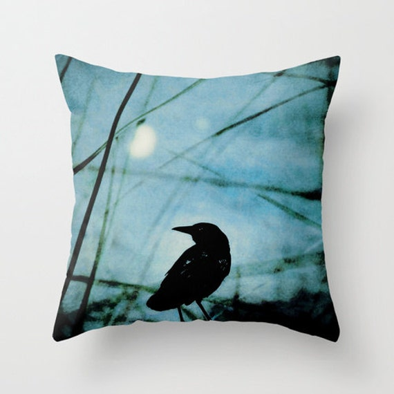 Coussin couverture, Corneille coussin, coussin bleu noir, Raven oreiller, coussin oiseau noir, coussin bleu, 16 x 16 18 x 18 20x20 coussin décoratif