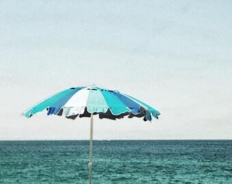 Beach Umbrella Print, Aqua beach print, Ocean wall art, Blue Striped Beach Umbrella Photograph, Coastal, Nautical Print